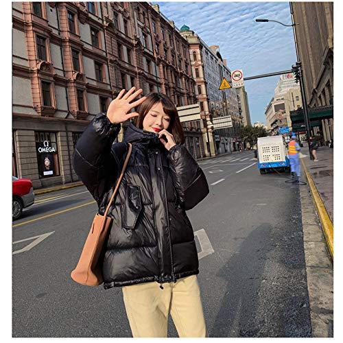 KOUPNLTM Manteau Court À Capuche Femme Hiver Vogue Veste Chaude Ladies Casual Windproof Jacket XL Noir