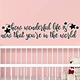 My Vinyl Story - How Wonderful Life is Now That You're in The World - Girl Nursery Decor Wall Decal Quote Removable Vinyl Art Decorations Stickers for Children Baby Kids Girl Bedroom Gift 36x9 inches
