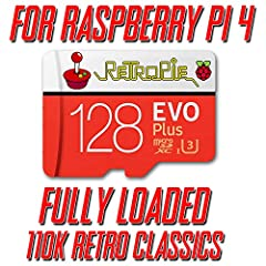 For newest Raspberry Pi 4 BEST QUALITY Samsung or SanDisk 128GB MicroSD Memory Card Ready for PLUG & PLAY 110k Retro Classics Ship within 1 business day! only from CrispConcept.