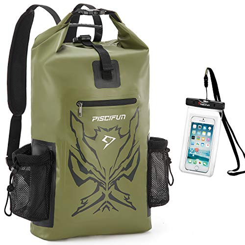 Piscifun Angry Face Dry Bag with Waterproof Phone Case, Waterproof Dry Backpack for Men and Women, Floating Dry Bag Backpack 40L Army Green