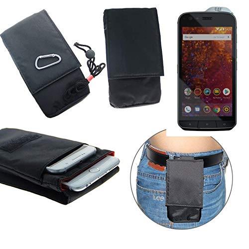 K-S-Trade® Gürtel Tasche Holster Kompatibel Mit Caterpillar Cat S61 Brusttasche Brustbeutel Schutz Hülle Smartphone Hülle Handy Schwarz Travel Bag Travel-Hülle Vertikal