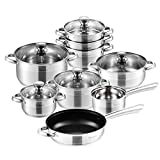 Velaze Cookware Set, Series Arthus, 14-Piece Stainless Steel Pot & Pan Sets, Induction