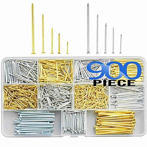 litorange 900本入 木ネジ マシンネジ 丸頭釘 平頭釘 10サイズセット 13-50mm 家具 DIY 木工 固定 修理ツール 収納ケース付き