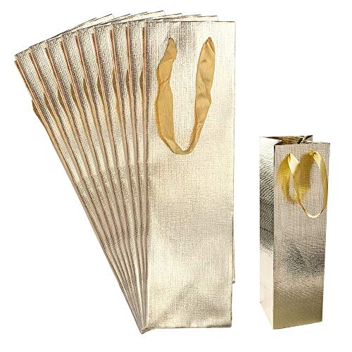 Geschenktaschen | 36cm x 10,5cm x 10,5cm | Geschenktüten mit diamantierter Oberfläche | gold | 10 Stück | ideale Geschenkverpackung für Flaschen