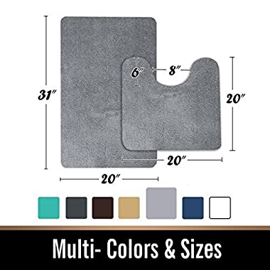 MAYSHINE Bath Mat Pedestal Set and 2 Piece Toilet Bathroom Rug Non Slip Machine Washable Soft Microfiber - Grey 20x31 20x20U