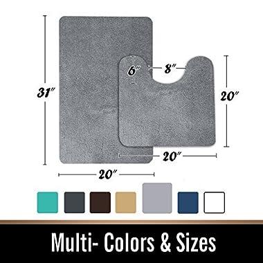Bath Mat pedestal set and 2 Piece Toilet Bathroom Rug Non slip Machine washable Soft Microfiber - Grey 20x31 20x20U