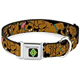 """Buckle-Down Seatbelt Buckle Dog Collar - Scooby Doo Stacked CLOSE-UP Black - 1.5"""" Wide - Fits 18-32"""" Neck - Large"""