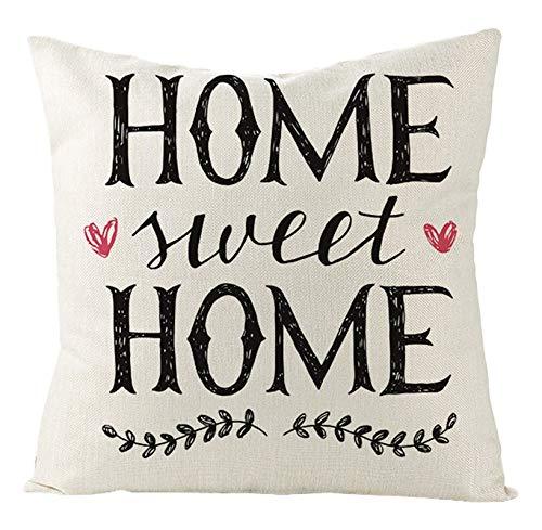 AtHomeShop 40 x 40 cm, funda de cojín decorativa en lino con mome Sweet Home Corazón Astes, suave y cómoda para sofá, dormitorio, salón, terraza, decoración - blanco y negro, estilo 28