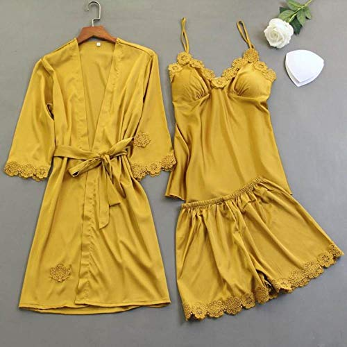 YUHOOE Pijama Seda Mujer,3 Piezas Pijamas De Satén Dama Kimono Bata De Baño Conjunto De Dormir Camisón De Encaje Ropa De Dormir Sexy Regalo De Boda Nupcial Ropa De Dormir Pijamas Amarillo