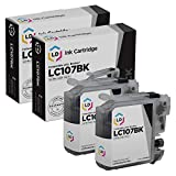 LD Compatible Ink Cartridge Replacement for Brother LC107BK Super High Yield (Black, 2-Pack)