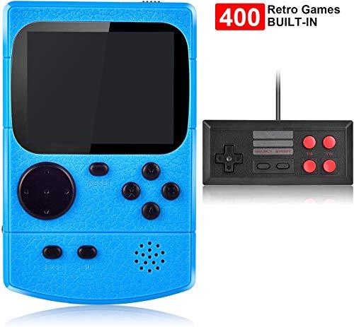 Kiztoys Console di Gioco Portatile Videogiochi Portatili con 400 Giochi Classici Schermo a Colori da 3 Pollici per 2 Giocatori Supporto TV Console per Giochi Portatili 3 Ore+ per Bambini Adulti