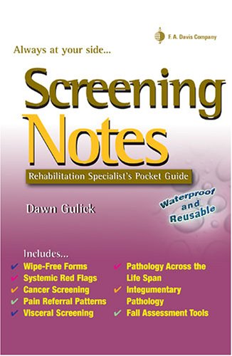 Screening Notes: Rehabilitation Specialist's Pocket Guide