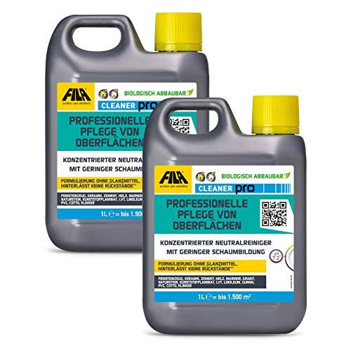 FILA Cleaner 2x 1l neutrales Reinigungskonzentrat für Marmor, Naturstein, Terrakotta, Cotto, Holz, Laminat 1 l. für bis zu 1500 qm