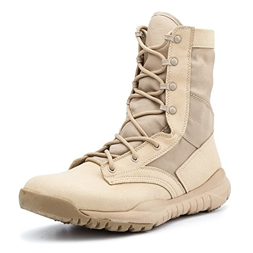 IODSON Mens' Ultra-Light Combat Boots Military Tactical Work Boots Beige