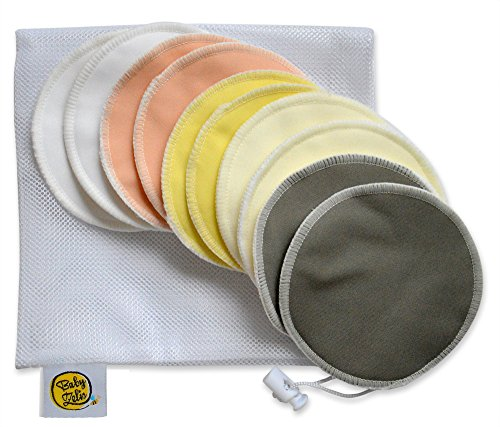 Organic Bamboo Nursing Pads (10 Pack) with Laundry Bag by Baby Zelis - Ultra...