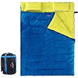 Naturehike Double Sleeping Bag for Adults & Kids with 2 Pillows, Lightweight Waterproof 2 Person Camping Sleeping Bag for Backpacking, Hiking, Outdoor, 3 Season with Compression Sack - Blue/Yellow