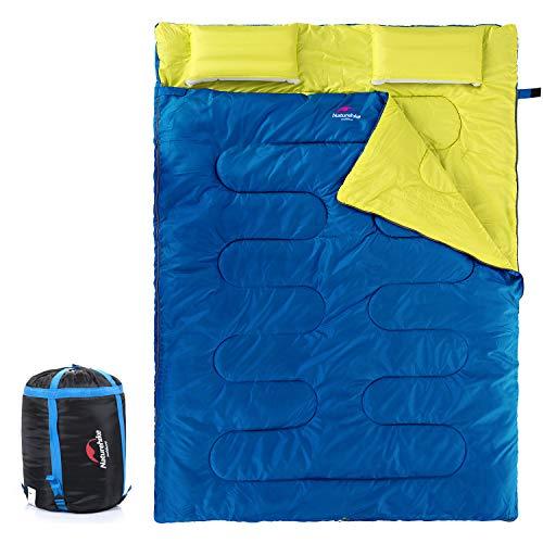 Naturehike - Saco de dormir doble para adultos y niños con 2 almohadas, ligero e impermeable para 2 personas, saco de dormir para mochilas, senderismo, al aire libre, 3 estaciones con saco de compresión, color azul y amarillo