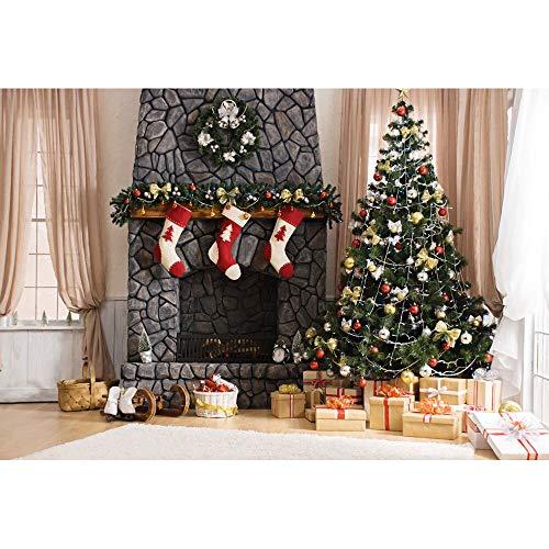Fondos de Navidad para Fiestas Familiares Árbol de Nieve de Invierno Papá Noel Piso de Madera Fondos para niños Photocall para Estudio fotográfico A13 7x5ft / 2.1x1.5m