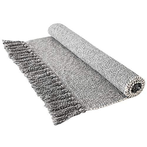 Tappeto vintage nordico intrecciato a mano per ingresso, con nappe, in cotone, per porta, portico, cucina, 60 x 90 cm, Cotone, grigio, 2x4.3 feet