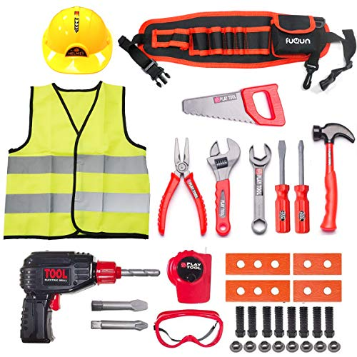 FUQUN Kids Pretend Play Tool Set - 36Pcs Construction Tool Toys with Electric Drill,Kids Tool Belt DIY Tool Kit for 3 4 5 6 Years Old Toddlers Boys