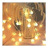ロマンチック クリスマスライト、ボールを持つ1メートル3メートル6メートルツェッペリンランタン、結婚式休日装飾ライト、休日クリスマス屋外照明ガーランド テラス (Color : White, Size : 6M 40Led)