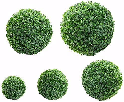 Keemov Best Artificial Topiary Balls Plastic Plant Balls Topiary Grass Balls for Garden, Wedding Party