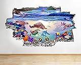 HUJL Pegatinas de pared Acuario pez agua océano tanque pegatina vinilo 3D habitación de niños