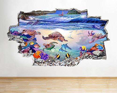 Pegatinas de pared Pegatinas de pared Peces Agua Acuario Tanque Océano Sala de estar Dormitorio Calcomanía Arte 3D Póster Arte 3D Mural 50x70cm