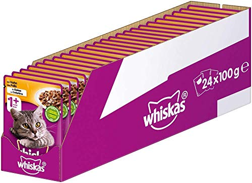 Whiskas 1 + Katzenfutter – Huhn in Gelee – Hochwertiges Nassfutter für ausgewachsene Katzen – 24 Beutel à 100g
