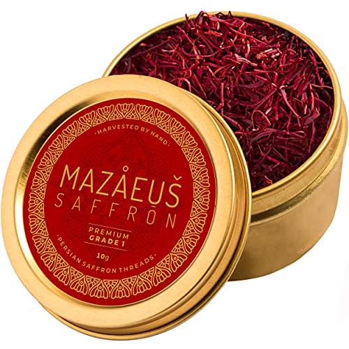 Mazaeus Saffron Premium Pure Saffron Threads for Cooking – [Grade-1] Natural All-Red Persian Saffron Spice for Paella, Tea, Golden Milk, Rice, Desserts – 10 Grams