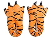 Gebaozhen Stuffed Animal Claw Slippers,Monster Paw Slippers,Fun Costume Play & Everyday Furry Animal Plush Paw for Kids & Adults Wear (M, Leopard Pattern)