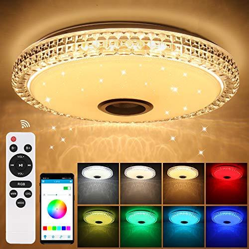 Prenine 72W LED Musik Deckenleuchte Dimmbar mit Bluetooth Lautsprecher und Speicherfunktion,6000LM RGB Farbwechsel,Timer Funktion, LED Deckenlampe Lampe für Innen, Küche, Schlafzimmer,Wohnzimmer