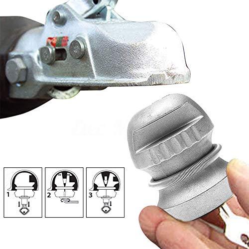 Cerradura de enganche universal para caravana y remolque, bloqueo de bola de remolque, bloqueo de bola de seguridad, cerradura de bola de remolque, aleación de zinc (plata)