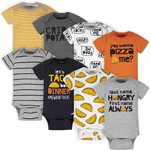 Onesies Brand Baby Boys' 8-Pack Short Sleeve Mix & Match Bodysuits, Grey Hungry, 3-6 Months