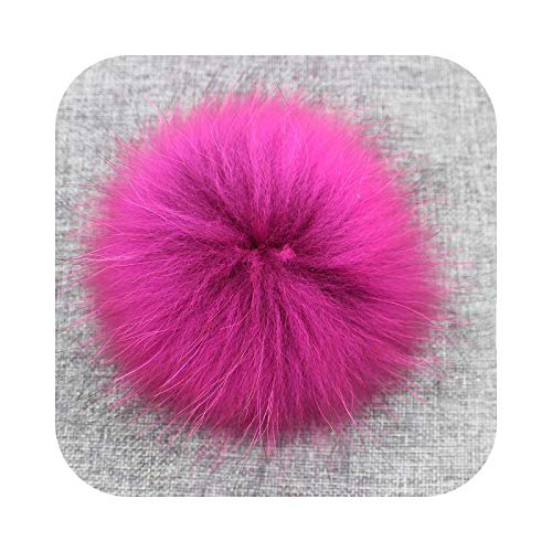 happy-Boutique Pompom Hats, Fluffy Fur Tassel with Button 13-15 cm DIY Fur Balls Pink Fur for Scarves – Red
