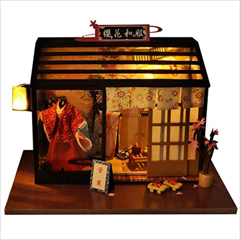 GUHUA Puppenhaus DIY Haus Holz Modell,Modernes Wohnhaus Puppenzubehr Haus EinrichtungKirschblüten-Kimono