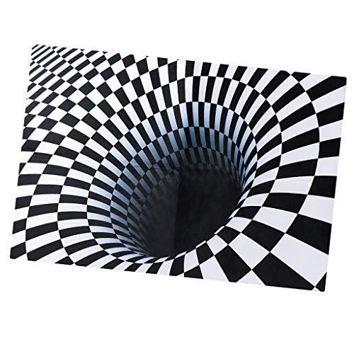 Baosity Black & White Checkered 3D Visual Effect Floor Rug Mat Bedroom Carpet 150 x 100cm for Kids Room Nursery
