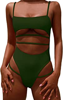 Womens One Piece Swimsuits Push up Strappy High Cut High Waisted Cheeky Bathing Suit Swimwear