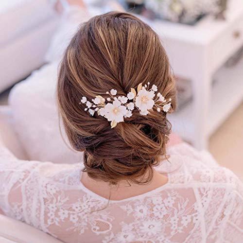 Edary Serre-tête de mariée avec fleurs dorées et feuilles...