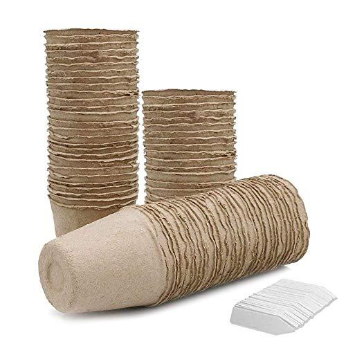 LFS Kits de Germinación con Semilleros Macetas Biodegradables y Marcadores para Plantas, Paquete de...