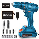 20V Cordless Drill Kit with Brushless Motor, GOXAWEE Electric Screw Driver Set with 2.0 A Battery, 2 Speed 50M.N for Drilling Through Bricks, Metal, Wood