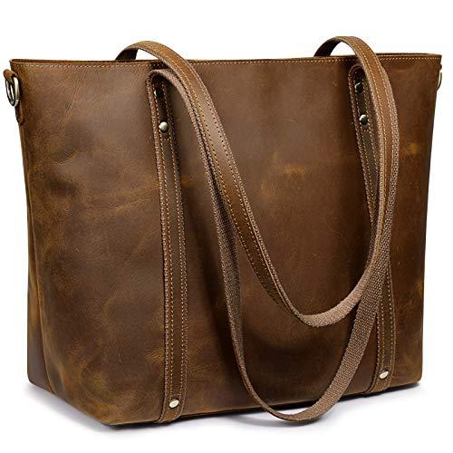 S-ZONE Bolso de mano de cuero genuino para mujer, bolso vintage con correa cruzada, marr�n (Marrón claro), Large
