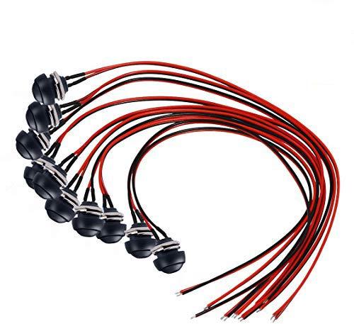 Donjon – Interruptor de presión para momentos (con alambre de 20 AWG), impermeable, pulsador, botón SPST ON/OFF para coche, PC, lámpara de mesa (10 unidades)