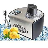Eiscremebereiter • Eis-Maschine • Frozen Yogurt Kompressor • Eis- und Joghurtspezialitäten • 1,5 L • Elektronisches Rezeptbuch, LCD-Display, Timer & Kühlfunktion,inkl Messbecher Und eine Eisschaufel