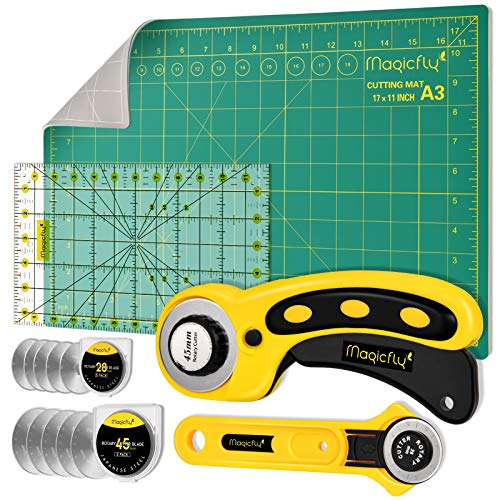 Magicfly Rotary Cutter Set, 45mm and 28mm Fabric Cutters Kit with Extra 10 Blades, A3 Double-Sided Self Healing Cutting Mat, 12x6 Inch Quilting Ruler for Sewing, Fabric Cutting, Art Crafting