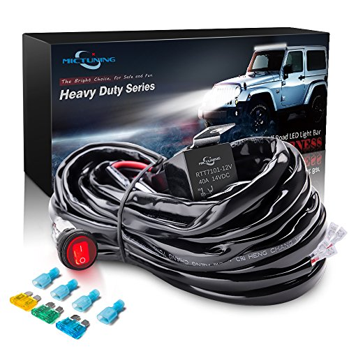 MICTUNING HD 14AWG 300w LED Light Bar Wiring Harness Fuse 40Amp Relay ON-OFF Waterproof Switch(2Lead)