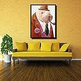jzxjzx Animal de Dibujos Animados león Marino Pintura al óleo sin Marco de inyección de Tinta Hotel Sala de Estar decoración Pintura de la Pared 1 40x56cm