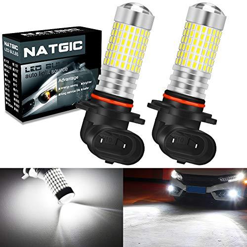 NATGIC H10 9140 9145 Ampoules de Phare antibrouillard à LED Blanc xénon 3000LM 3014 SMD 144-EX avec projecteur à lentille pour feu antibrouillard extérieur, 12-24V (Lot de 2)