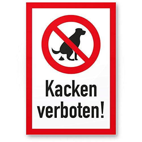 Komma Security Hundeschild Kacken Verboten - Wiese Kunststoff Schild Hunde kacken verboten - Verbotsschild Hundeverbotsschild Verbot Hundeklo Hundekot Hundehaufen