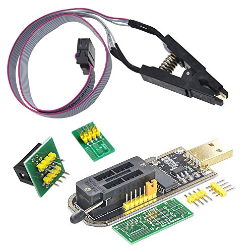 SOIC8 SOP8 Flash Chip IC Test Clips Socket Adapter, Coomatec USB Programmer CH341A Module BIOS/24/25/93, 24 25 Series EEPROM Flash BIOS W/ Software & Driver